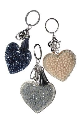 CRYSTAL & BEADWORK HEART KEYRING GREY