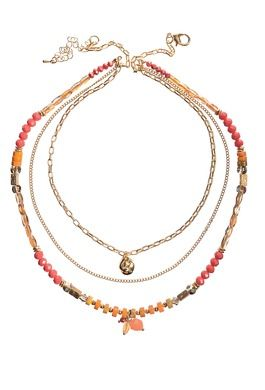 CRYSTAL TRIPLE LAYER CORAL WITH CHARMS NECKLACE