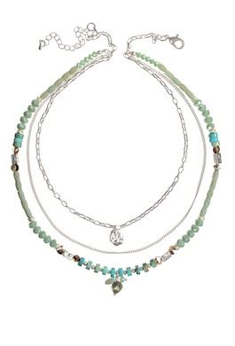 CRYSTAL TRIPLE LAYER TURQUOISE NECKLACE WITH CHARMS NECKLACE