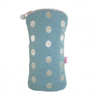 GREEN EMBROIDERED DOTS GLASSES CASE