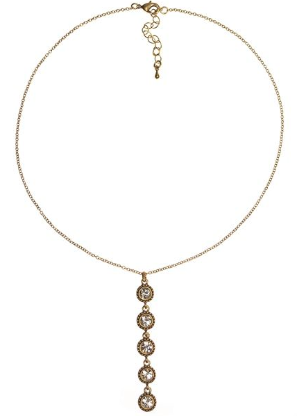 HIGH 5 CRYSTAL GOLD PLUNGE NECKLACE