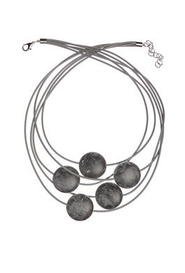 LARGE MATT BEAD MARBLE GREY NECKLACE