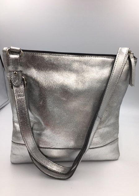 LEATHER ALL IN 1  CROSS BODY SILVER