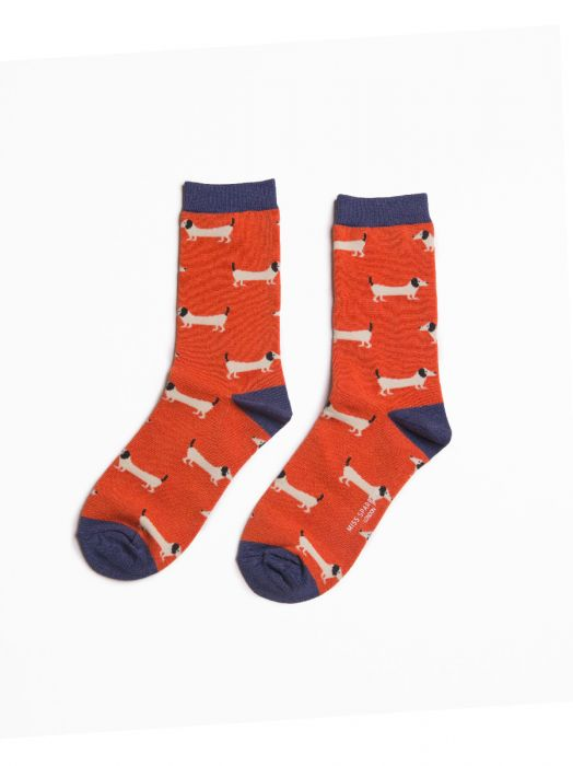 ORANGE SAUSAGE DOG SOCKS